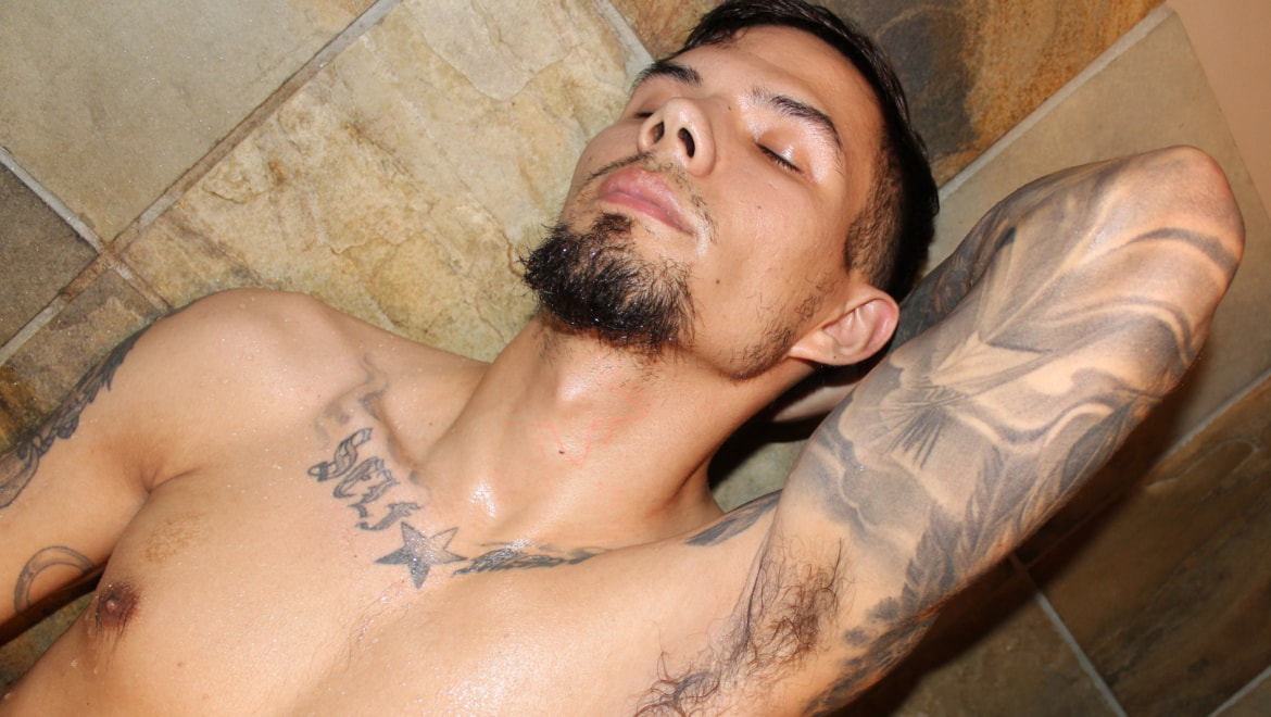 Tatted Surfer Stud Gets Clean in the Shower