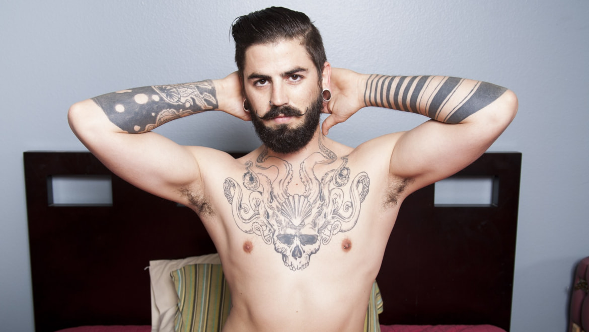 Tatted Spanish Hipster Shows Off
